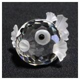 Swarovski Silver Crystal Puffer Fish Figurine # 7644 NR 041000 With Box And COA