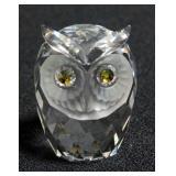 Swarovski Silver Crystal Owl Figurine # 7636 NR 046 With Box And COA