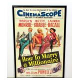 1958 How To Marry A Millionaire Movie Poster Print, Marilyn Monroe Betty Grable Lauren Bacall Framed