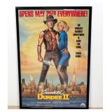 "1988 Crocodile Dundee II Movie Poster Print Paul Hogan Linda Kozlowski Framed 28""W x 41""H"