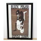 """Black Power / White Power Propaganda Poster c. 1970s Framed 27""""W x 39""""H"""