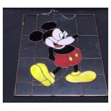 "Mickey Mouse Hanging Painted Glass 16""W x 22.5""H"