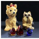 Dog Bank, Dog Figurine And Set of Titan Art Glass Colored Birds