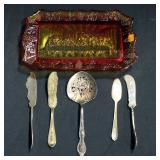 Colored Glass Tray With Image Of Last Supper, WM Rogers And Stratford Silver Plated Flatware (5) And