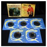 ELVIS 45rpm Vinyl Records, Jailhouse Rock With Picture Sleeve, Blue Suede Shoes, Lonesome Tonight, M