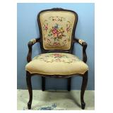"Needlepoint Upholstered Chair, Floral Pattern 23""W x 37.5""H x 19.5""D"