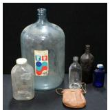 Bottle Collection Including Eads 5-Gallon Water Bottle, Ancient Age Brand Amber Glass Liquor Bottle