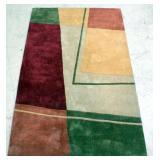 "Geometric Design Area Rug, Green, Yellow, Cream, Burgundy Colors 60""W x 90""L"