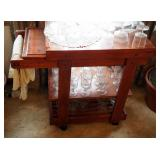 """Solid Wood Rolling Dining Cart With 3 Shelves And Slide Out Cutting Board, 30"""" x 34"""" x 17.5"""