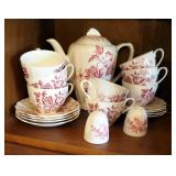 J & C China Tea Set Made In England, Cups Saucers And Tea Pot With Salt & Pepper Shakers, 8 Place Se