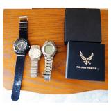 Mens Watches To Include U.S. Air Force, Radio Shack, Sasson And Stauer New In Box, Total Qty 4