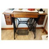 Antique Singer Treadle Sewing Machine With Cabinet With Contents Of Drawers
