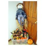 Scarecrow Assortment Including Yard Stake, Centerpieces, Straw Pumpkins, Fall Garland, And More