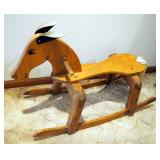 """Handmade Wood Rocking Horse With Rope Tail, Painted Face And Cloth Ears, 20"""" x 32"""""""