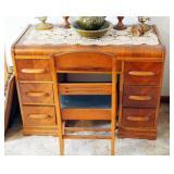 "Veneered Waterfall 7 Drawer Desk, 29.5"" x 40"" x 20.5"" With Chair"