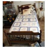 "Mid Century Solid Wood Twin Bed Includes, Headboard 39"" x 42, Foot Board 28.5"" x 42"", Rails, Mattres"