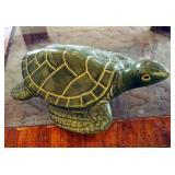 """Glazed Ceramic Turtle, 5.5"""" x 10"""" x 14"""" With Makers Mark"""