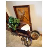 "Custom Wood Shelf 18.5"" x 16"" x 10"", Framed Wood Violin 18"" x 14.5, Brass Pot Holders, Qty 3 And Art"
