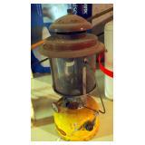 Vintage Dura-Camp Oil Lantern Model #732, Zebco Fishing Rod, Bamboo Cane Pole, Styrofoam Coolers And