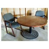 """Round Office Table 29"""" X 48"""" And Chairs, Qty. 2"""