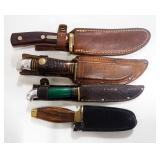 """Knife Collection, Includes Oldtimer 9.5"""" OL, Western 8"""" OL, Unmarked 7"""" OL, And Western 8.5"""" OL, All"""