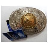 Belt Buckle Collection, Themes Include NRA, Hunting, Fishing, Military, And More, Qty 11