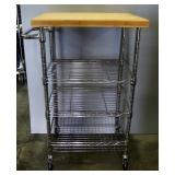 "Rolling Kitchen Utility Cart, 3 Adjustable Shelves, 40"" High x 24"" Wide x 19.75"" Deep"