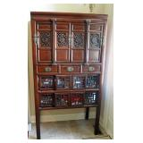 """Antique Oriental Storage Hutch With Dovetail Construction, Accent Carving, And Brass Hardware, 72"""" x"""