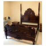 """Victorian Carved Wood Queen Size Bed Frame, Includes Headboard (89"""" x 66.5""""), Foot-board (39"""" x 66"""")"""