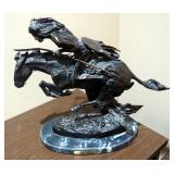 """""""Cheyenne"""" Bronze Statue Sculpture By Frederic Remington, 19"""" x 22"""" x 10"""", On Marble Base"""