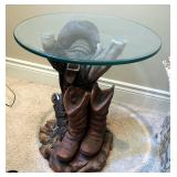 """Cast Western Sculpture Accent Table With Round Beveled Glass Top, 21.5"""" x 20"""" Round"""