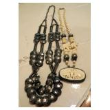 """Carved Bone Elephant Necklace 13"""", And Silver Toned Hammered Button Necklace 16"""""""