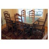 """Drexel Mid Century Solid Wood Dining Table 29"""" x 70"""" x 42"""", Includes 20"""" Leaves QTY 2, 6 Chairs With"""