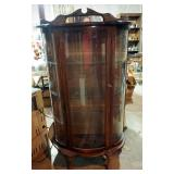 """Solid Wood Rounded Glass Front Curio Cabinet With Glass Shelves, Includes Keys, 63"""" x 33.5"""" x 16"""""""