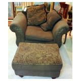 """Eva Furniture Over-sized Upholstered Arm Chair (30"""" x 50"""" x 38"""") With Matching Ottoman And Throw Pil"""