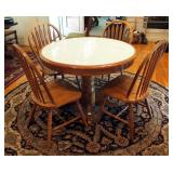 """Ashley Furniture Round Pedestal Dinette Table With Tile Top 30"""" x 42"""" Round And 4 Matching Slat Back"""