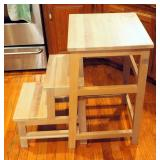"""Solid Wood Pull Out 2 Step Step Stool 28"""" x 17.5"""" x 16"""""""