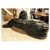 """Greg Wolf Carved Soap Stone Whale 6"""" x 14.5"""""""