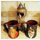 "11.5"" Ceramic Stein Music Box Made In Germany, Always Azul Pottery Ceramic Pirate Mugs QTY 2"