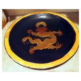 """20"""" Always Azul Pottery Painted Dragon Bowl"""