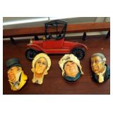 Vintage Bosson Chalkware Dickens Wall Hanging Ornaments QTY 4 Including Mr. Wilkins Micawber Mrs. Sa
