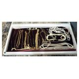 Gold Necklaces, Faux Pearls, And Wood Display Tray