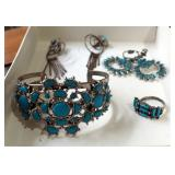 Silver Tone And Turquoise Cuff Bracelet, Ring, And Clip On Earrings (Qty 2 Pair)