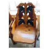 """Matching Hand Crafted Carved Back Armchairs, Qty 2, Back Height 40"""", Seat Height 16.5"""", 22.5"""" Wide"""