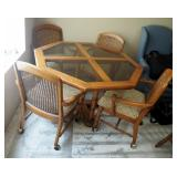 """Solid Wood Octagonal Glass Top Dinette Table 29"""" x 48"""" x 48"""", With Rolling Cane Back Upholstered Cha"""