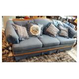 "Broyhill 3-Cushion Sofa With Wood Trim 32"" x 86"" x 36"", Includes Throw Pillows"