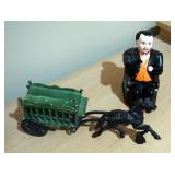 Cast Iron Painted Banker Bank And Cast Iron Horse With Circus Wagon