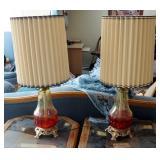"35"" Vintage Art Glass Table Lamps, Qty 2"