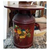 """Hand Painted Metal Milk Can Table, 24"""" x 22"""" Round"""