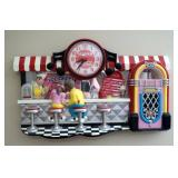 """Ice Cold Coca Cola Battery Operated Ice Cream Parlor Wall Clock, 13"""" x 21"""""""